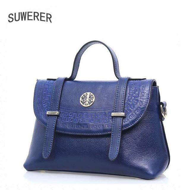Suwerer   2017 new messenger bag head cowhide handbag tide