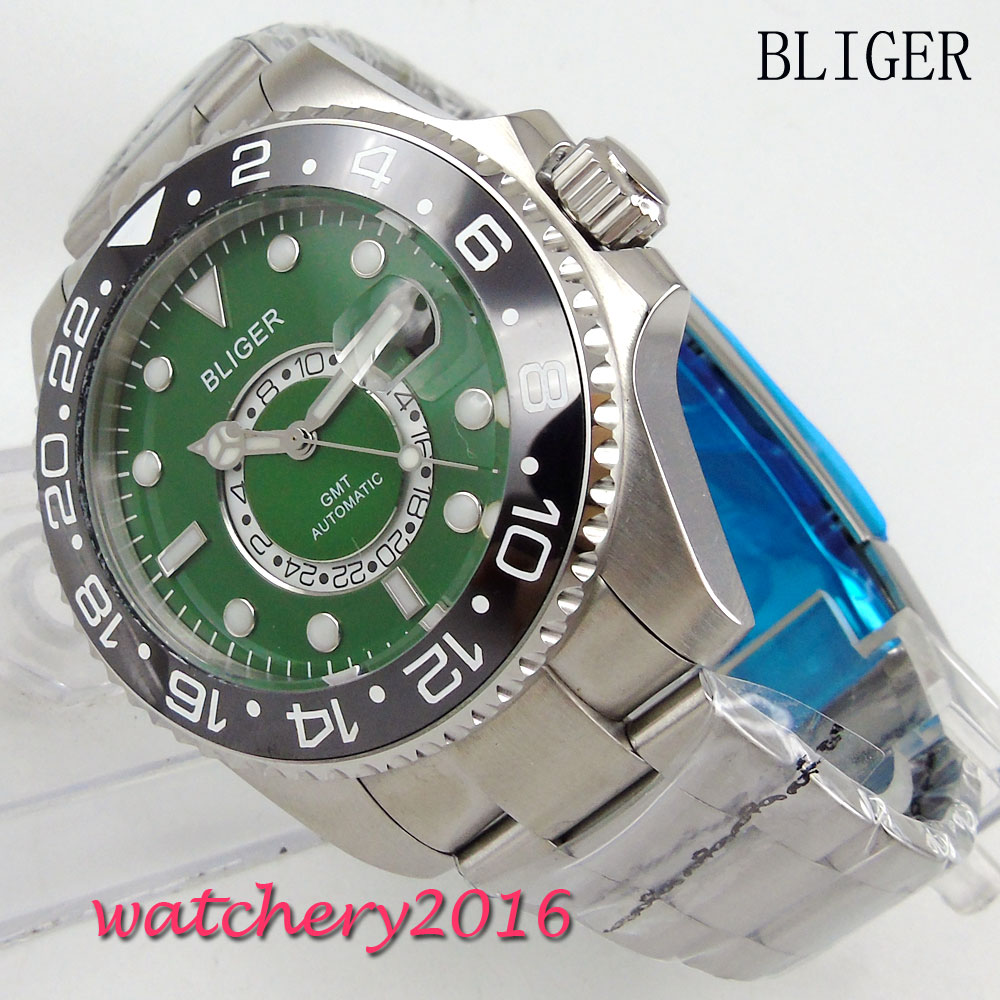 3d4fe50b1c6 43mm Bliger Green dial ceramic bezel Men s Mingzhu Movement luminous hands  Date adjust GMT sapphire glass