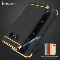 IPAKY For Samsung Galaxy S8 S8 Plus Cases 3 In 1 Electroplating PC Hard Phone Bag