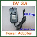 50pcs UK Plug AC 100-240V Converter Adapter to DC 5V 3A 4.0x1.7mm / 4.0*1.7mm Charger Power Supply Adapter Universal