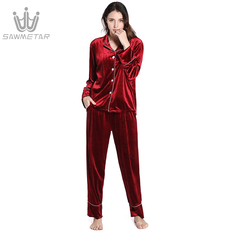 Gold velvet pajamas set women's long-sleeved autumn and winter new suits warm casual wear outside home service women