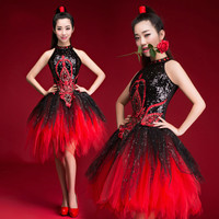 Modern dance costumes female adult youth ds sequined jazz dance costume dance drum suits opening dance tutu