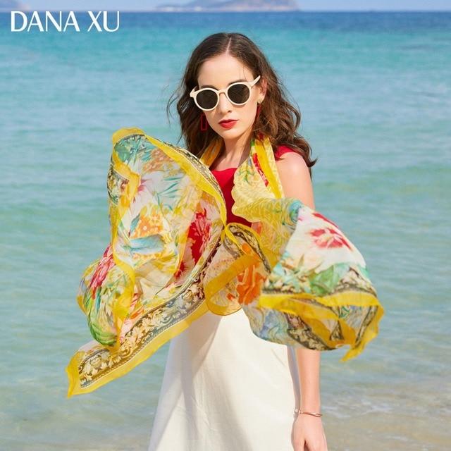 2019 الحرير وشاح طويل فاخر ماركة النساء تصميم جديد بطانية شاطئ ارتداء شال ملابس السباحة باندانا الحجاب الوجه درع Foulard 245*110 سنتيمتر