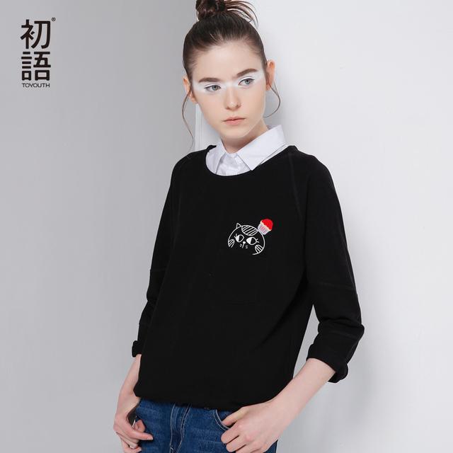 Toyouth camiseta de las mujeres 2017 otoño del o-cuello del remiendo impreso cartoon cat sólido puro algodón de las mujeres de tres cuartos de la manga tee tops