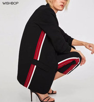 WISHBOP 2018 Spring Fashion Ladies Side Stripes Flowing Blazer Lapel Collar Elbow Length Pleated Sleeves Front