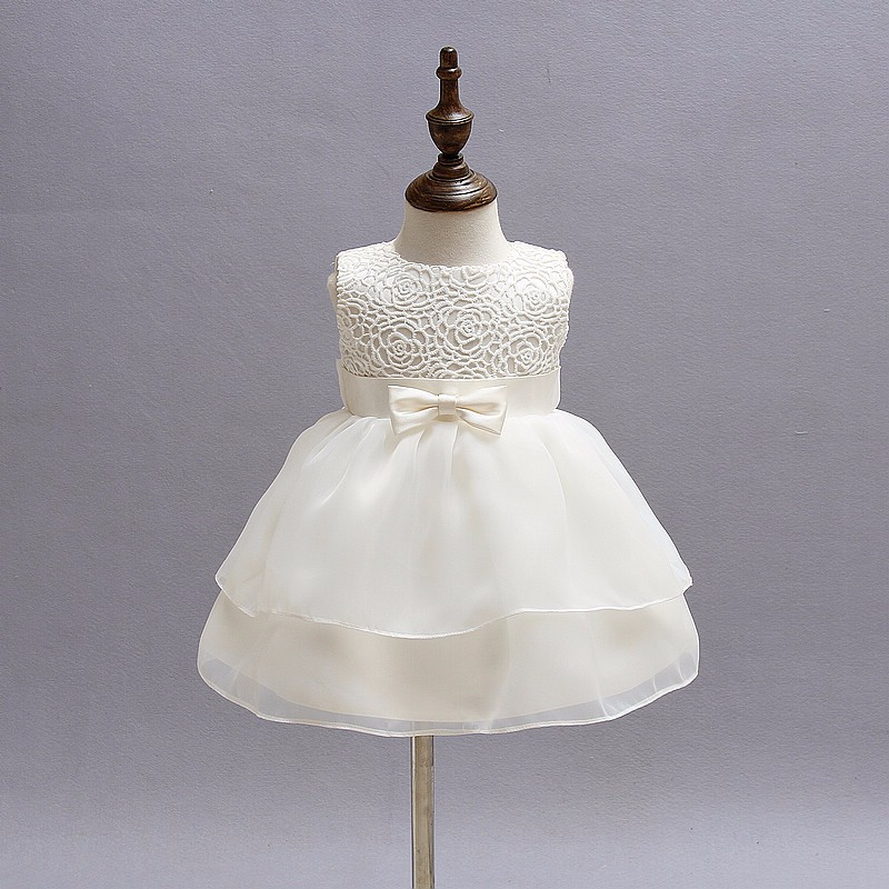 Baby Girls White Baptism Dress Newborn Princess Birthday Wear Toddler Flower Christening Ball Gown Kids Dresses For Girls 12 24M