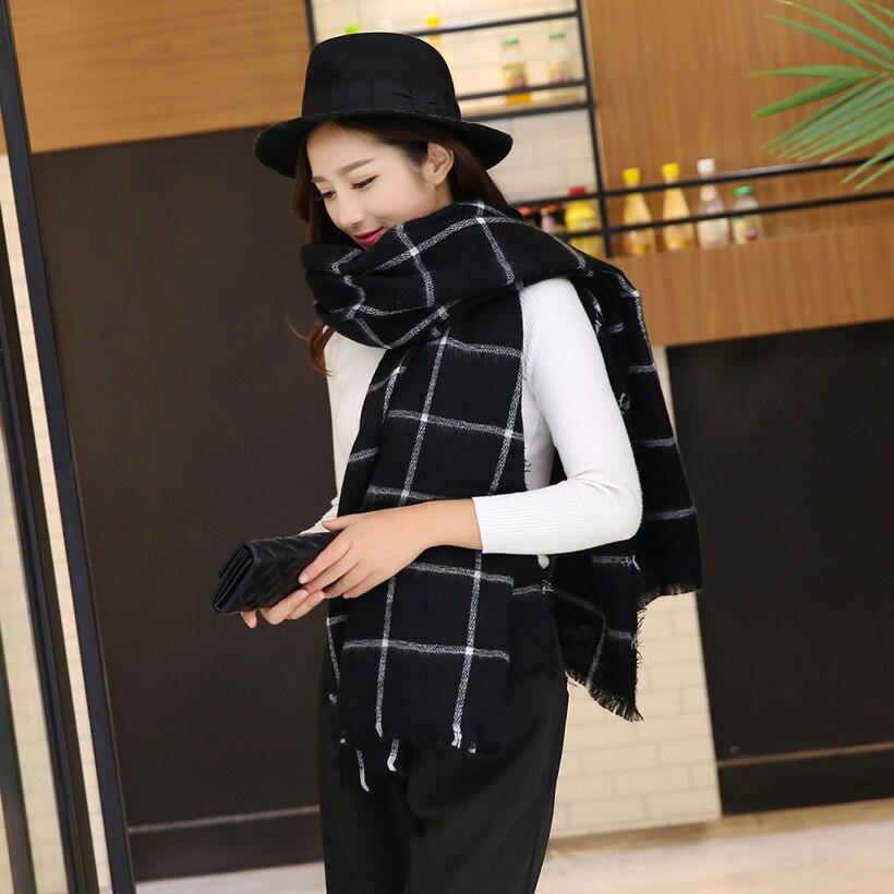 Шарф для женщин плед bufandas mujer черный теплый шарф женские зимние шарфы шали покрывало-палантин шарф роскошный бренд