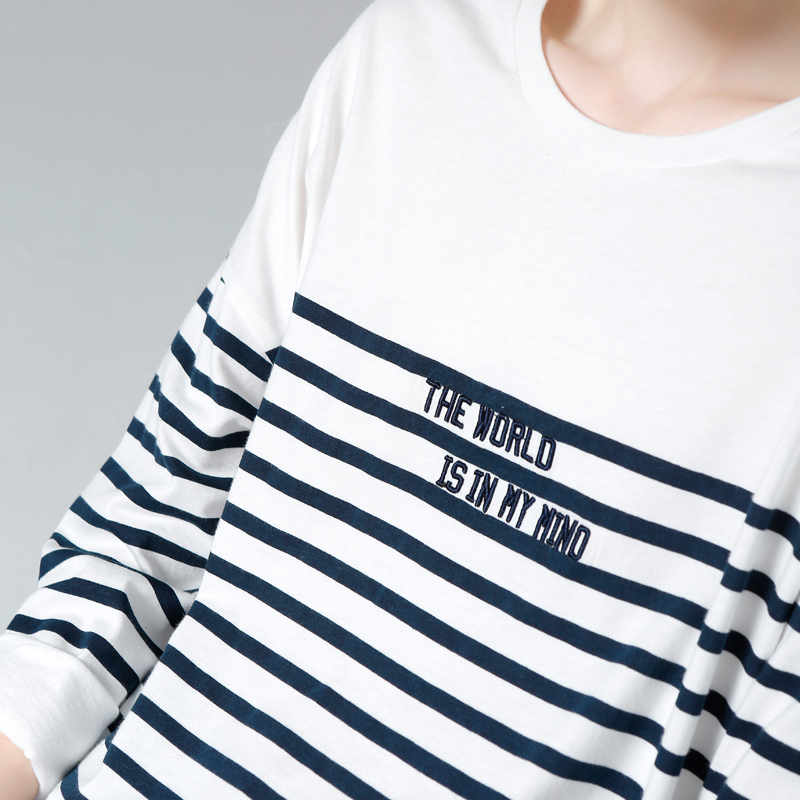New Fashion Toyouth T-shirt 2017 Spring Women Stripe Letter Embroidery Casual Batwing Sleeve O-neck Tees Tops Reasonable Price T-shirts
