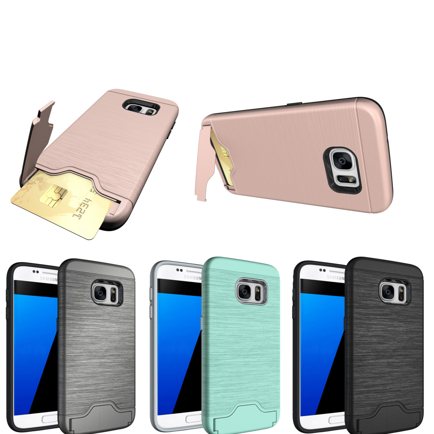 Fundas For samsung galaxy S7 Edge case cover Stylish luxury PC hard shell card bracket function case for coque samsung G935FG935 in Phone Bumper from