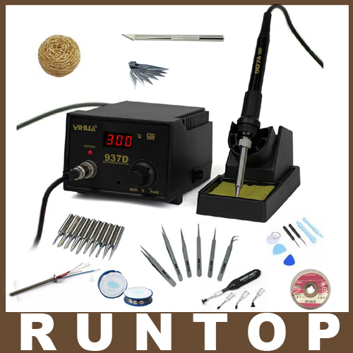 ФОТО High Quality  110v/220V 45W Yihua 937D solder iron Soldering Station with Extra free metal Heater and gifts