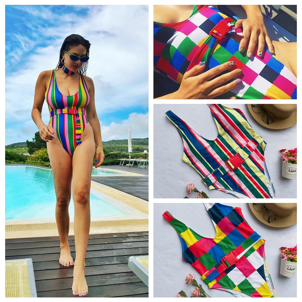 <font><b>2019</b></font> One Piece Swimsuit Female Colorful Plaid Swimwear Women <font><b>Sexy</b></font> Padded Bathing Suit May Bather Beachwear Bodysuit Monokini image