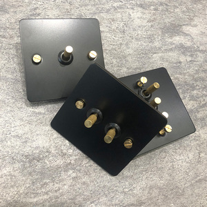 Image 5 - Black loft industrial style light luxury retro copper hand dialing metal panel 86 type lever switch surface mounted brass screw