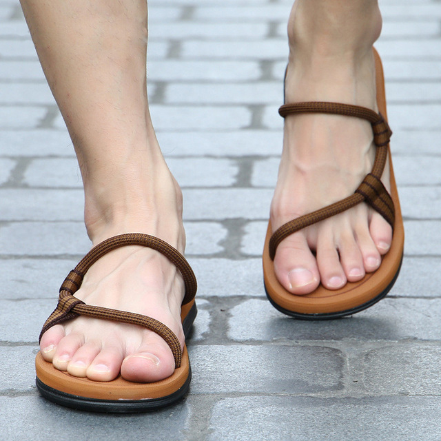Summer Beach Shoes Men Sandals Hombre Gladiator Sandals For Male Shoes Summer Roman Sandalias Flip Flops Slip On Flats Slippers