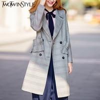 TWOTWINSTYLE Plaid Trench Coat Female Long Sleeve Women S Windbreaker Pleated Ruffle Overcoat Casual Korean Autumn