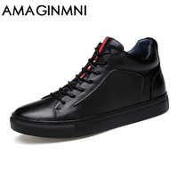 AMAGINM Big Size Men Shoes High Quality Genuine Leather Men Ankle Boots Fashion Black Shoes Winter