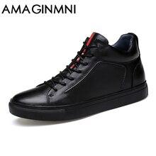 AMAGINM Big Size Men Shoes High Quality Genuine Leather Men Ankle Boots Fashion Black Shoes Winter Men Boots Warm Shoes With Fur