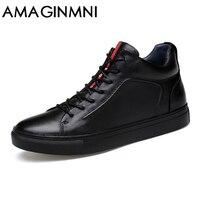 AMAGINM Duży Rozmiar Mężczyzna Butów Wysokiej Jakości Prawdziwej Skóry Mężczyźni Kostki buty Moda Czarne Buty Zimowe Męskie Buty Ciepłe Buty Z Futerkiem