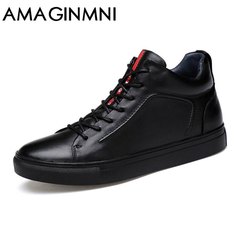 Amaginm большой Размеры Мужская обувь Высокое качество Пояса из натуральной кожи мужские полусапоги Модная черная обувь Мужские зимние ботинки теплая обувь с Мех животных