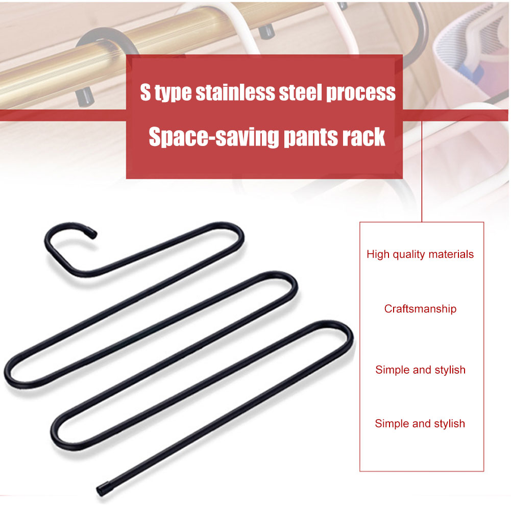 Hot Multi-layer  Stainless Steel Pants Hangers Anti-slip S Shaped Multifunctional Clothes Storage Rack Space Saver