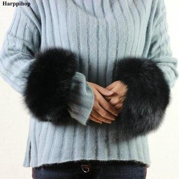 Manchettes de fourrure de renard de haute qualité offre spéciale chauffe-poignet véritable fourrure de renard manchette bras plus chaud dame Bracelet véritable fourrure Bracelet gant