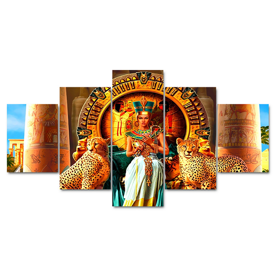 Living-Room-HD-Printed-Modern-Painting-On-Canvas-5-Piece-Pcs-Egyptian-Queen-Modular-Picture-Wall