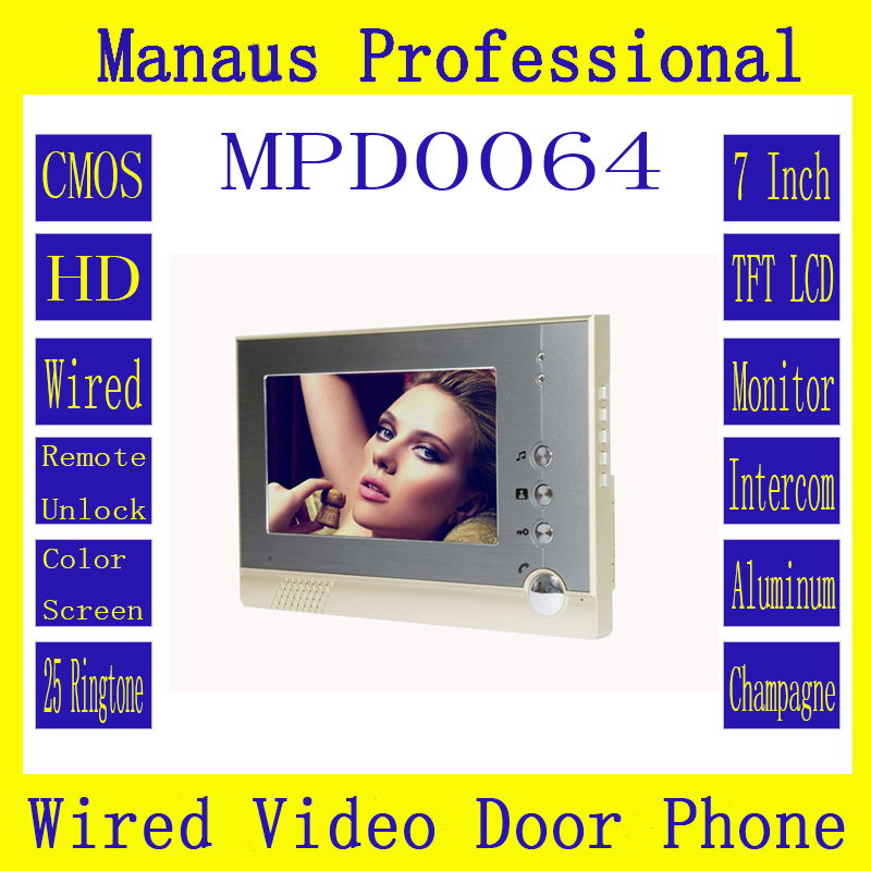 ФОТО Professional 7 inch color TFT LCD Smart Home digital Wired Video door phone, Indoor Monitor Video Door Phone without camera D64C