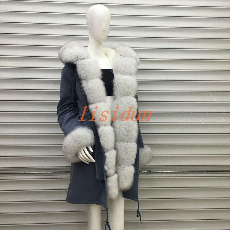 2018 abrigo de piel de zorro, abrigo, vestido, ropa de mujer, liner pelo largo, Parker, y la nutria conejo nuevo abrigo de piel