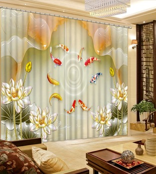 marble curtains louts curtain 3D Blackout Curtains For Living room Bedding room  fish curtains