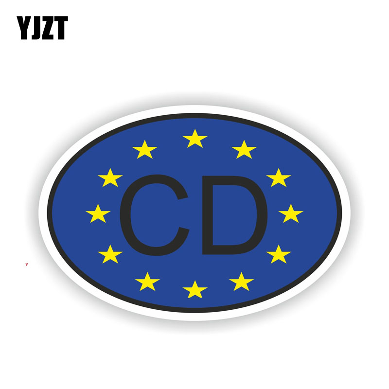 YJZT 13.7CM*9.2CM Funny Car Styling CD Corps Diplomatic COUNTRY CODE Car Sticker Decal 6-2021