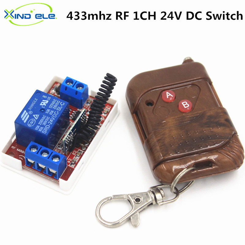 433Mhz Universal Wireless Remote Control Switch DC 24V 10A 1CH relay Receiver Module  RF Transmitter 433 Mhz Remote Controls 433mhz universal remote control light switch dc 24v 10a 1ch relay receiver module rf 433 mhz remote controls for garage door