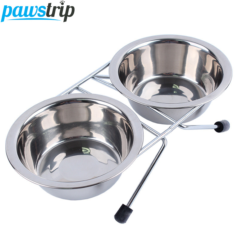 4 Size Stainless Steel Dog Bowl Feeder Hanging Pets