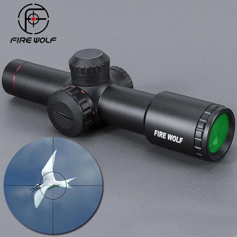 Огненный волк Тактический AK47 AK74 AR15 Охота Сфера 4,5X20 красной подсветкой Mil-точка прицел