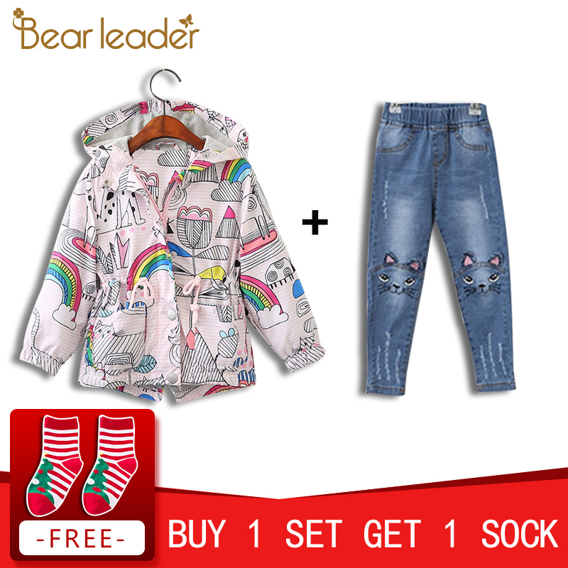 Bear Leader Girls Coats and Jackets Kids 2018 Autumn Brand Children Clothes Bird&Flowers Print Hooded Outerwear For 3-7 Years