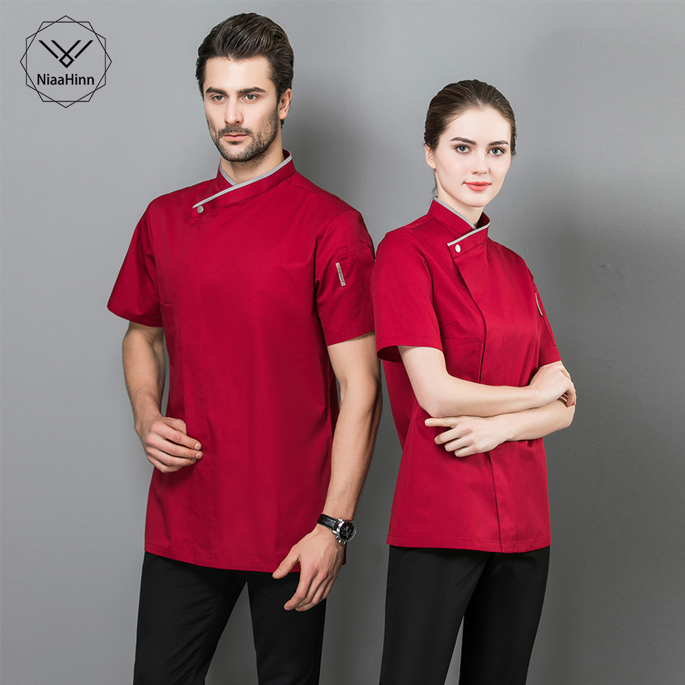 Short Sleeve Restaurant Chef Kitchen Work Uniforms Unisex Red Sushi Bakery Cafe Waiter Catering Food Service Jackets Aprons New