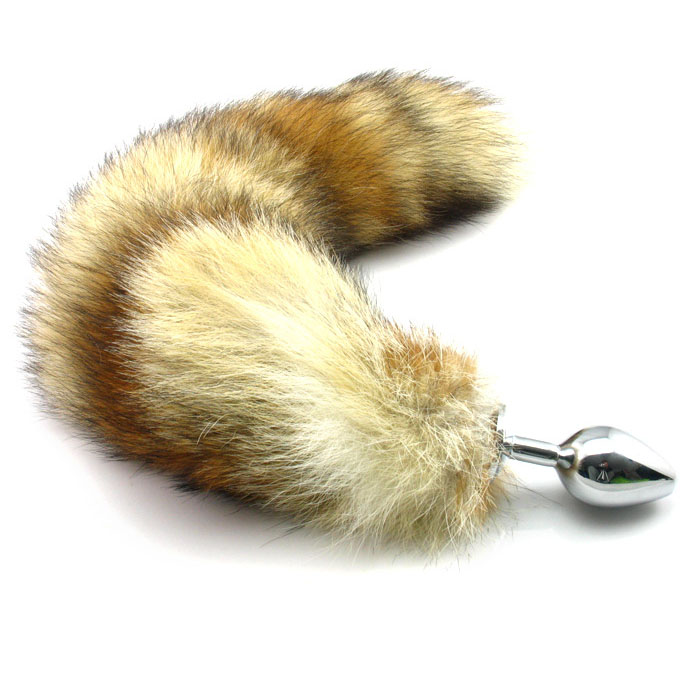 Buy Super Large Long fox tail butt plug stainless steel  metal big anal plug tail buttplug sex products erotic toys woman