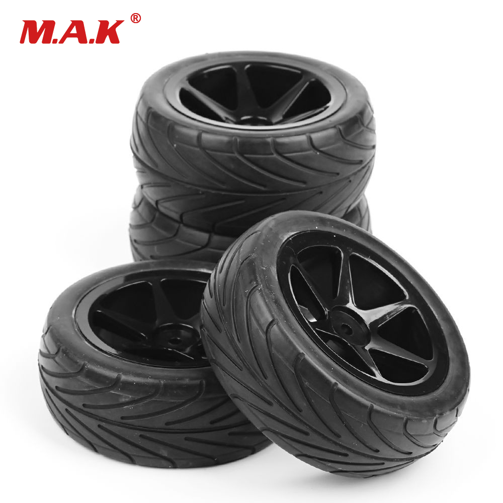 4Pcs 1:10 Front&Rear Set Off-Road Tires&Wheel Rim 25036+27007/25037+27008 For RC 1/10 Buggy Car Black Parts and Accessories rc car model off road buggy tires and wheel rim 25026 27013 for hsp hpi 1 10 rc buggy car toys accessories