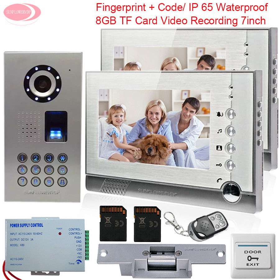 Video Intercom 2 Monitors Intercom With Recording + 8GB SD Card IP65 Waterproof Fingerprint System Unit With Electronic lock Kit cute newborn baby girls clothes floral infant bebes romper cotton jumpsuit one pieces outfit sunsuit 0 18m