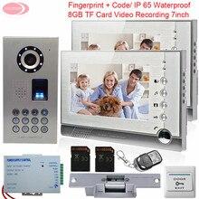 Video Intercom 2 Monitors Intercom With Recording + 8GB SD Card IP65 Waterproof Fingerprint System Unit With Electronic lock Kit