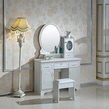 Луи Мода 100 см маленький размер спальня комод простой современный пасторальный белый туалетный столик с зеркалом и табуретом