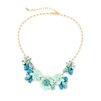 Blue Black Stone Enamel Flower Cluster Necklace 2016 Spring Fashion Collar Necklace Bijoux Charming Jewelry For