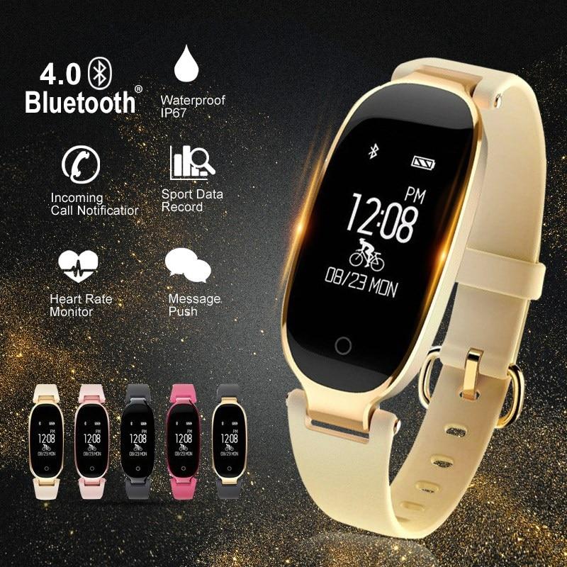 Bluetooth impermeable S3 inteligente reloj de moda de las señoras de las mujeres montre de Smartwatch reloj inteligente para Android IOS reloj