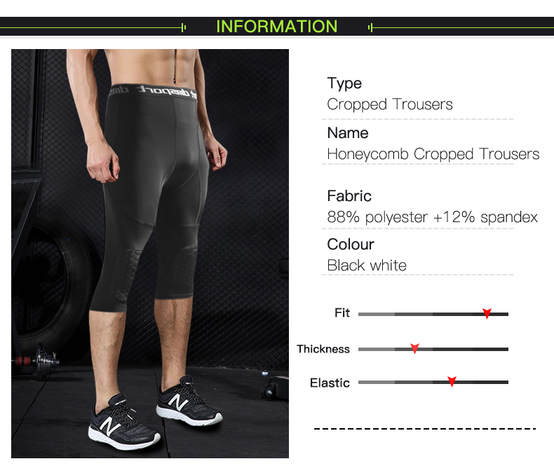 Honeybomb Kneepads Men S Running Tights Compression Men Cropped Trousers Sport Leggings Gym Fitness Training Basketball Pants Running Tights Aliexpress