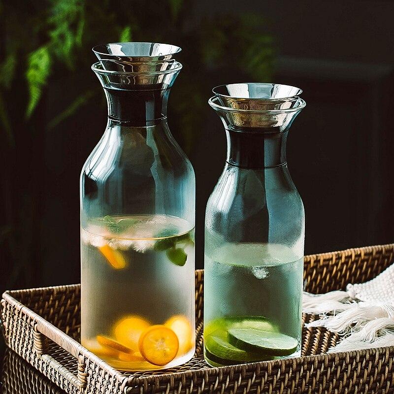 Nodic Glass Soda Water Bottle Stainless Steel Lid Juice