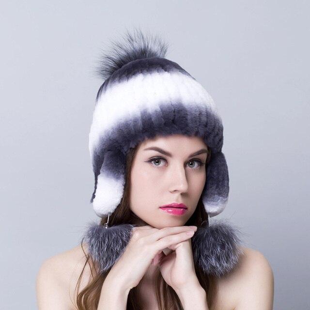 Sombrero de piel de conejo para las mujeres de Invierno de punto gorros sombreros de piel femenina con piel de zorro pom superior 2016 nueva marca causal de la buena calidad tapas