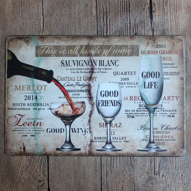 This Is All Kinds Of Wine Tin Sign Home Decor 20*30 Vintage Metal