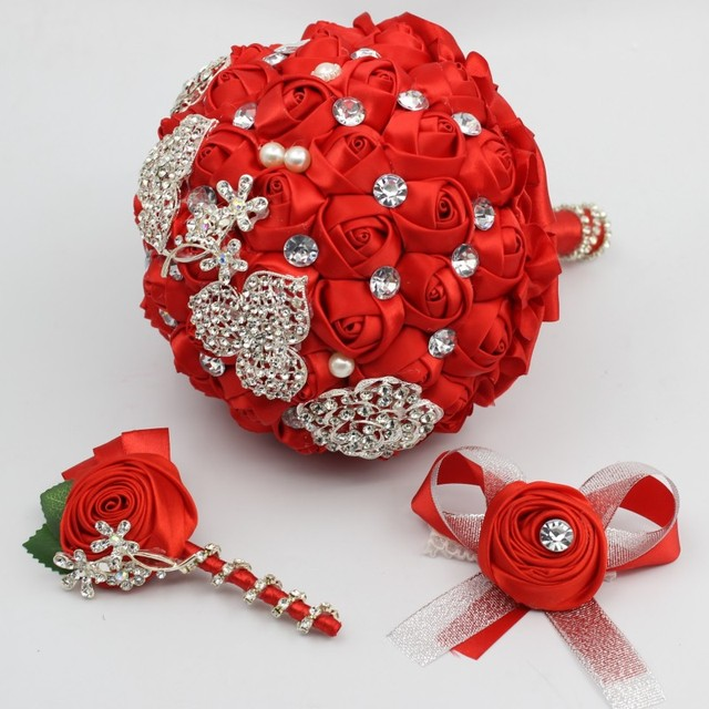 Handmade High Quality Wedding Bouquet Best Man Boutonniere Bridal ...