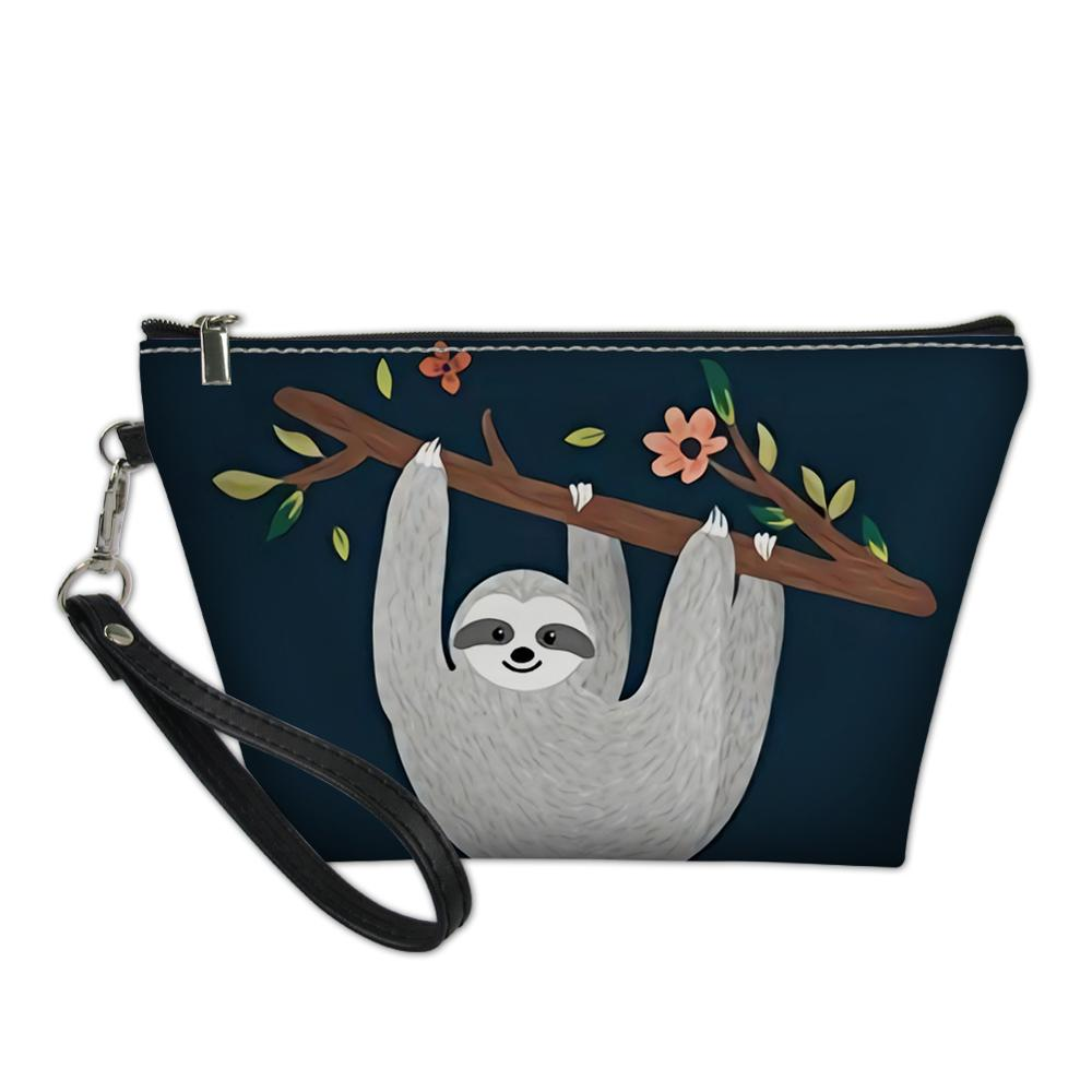 Thikin Sloth Makeup Bags for Women Painting Design Cosmetic Bag Women Handbag Make up Case Girls Pouch in Cosmetic Bags Cases from Luggage Bags
