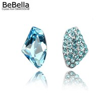 BeBella 3 colors women unsymmetrical crystal earrings made with Swarovski Elements(China)