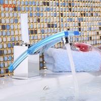 Free Shipping BAKALA younger modern bathroom faucet basin mixer brass glass tap Chromed LH 8126