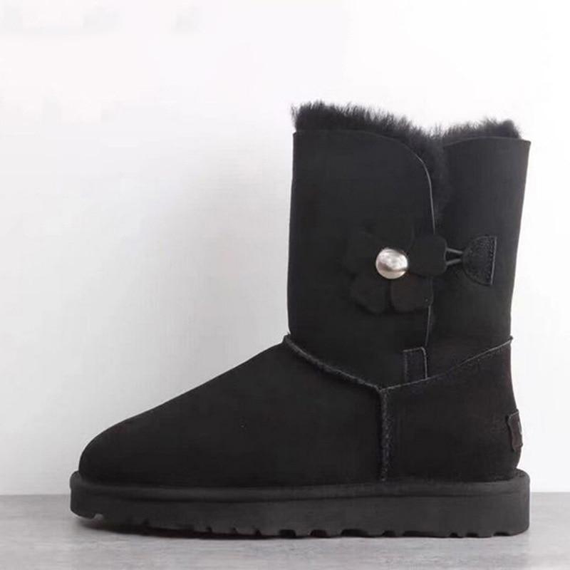 Bottes black Peau Chaussures Véritable Mode D'hiver Grey Fourrure Femme Neige Femmes Top En Mouton Chaude Laine 100 Naturel Nouveau De Cuir chestnut Qualité wI1A8wq